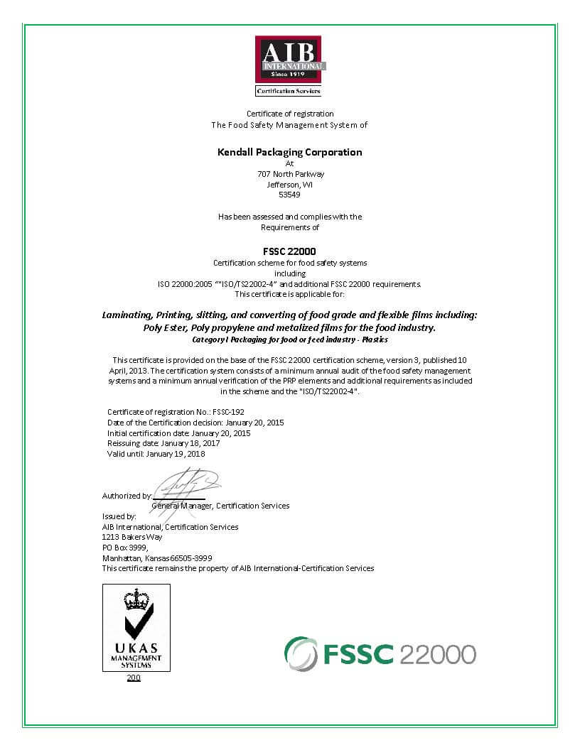 Kendalls Wisconsin Facility Achieves Gsfi Certification Kendall
